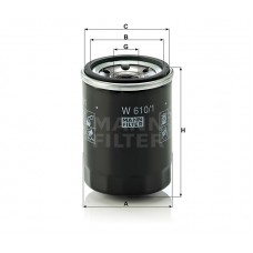 W610/1, Oil Filter, Mann & Hummel