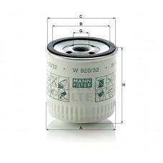 W920/32, Oil Filter, Mann & Hummel